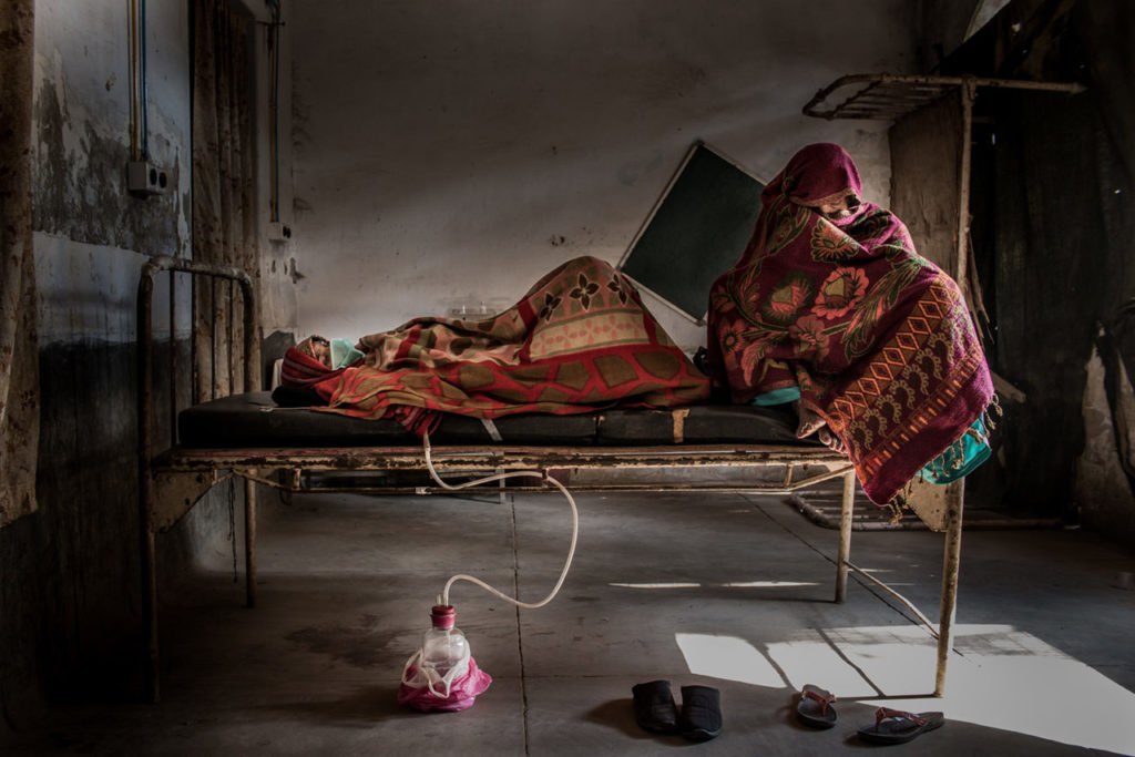 girl and a mother in hospital in agra